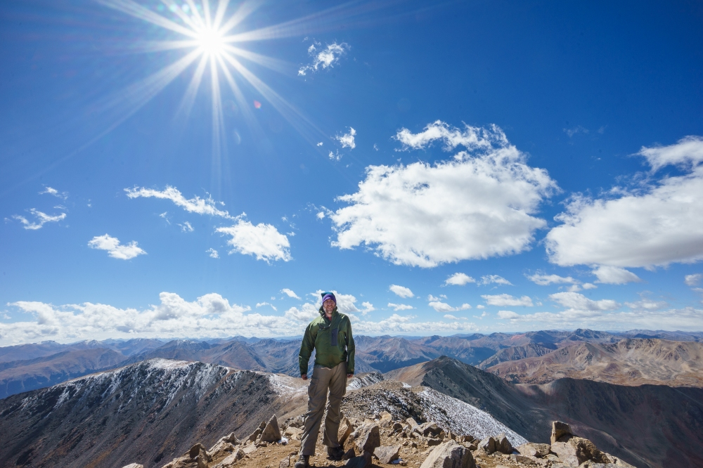 Photo taken by Greg Pajot, a random guy we met on the summit.  I suggested shooting wide open using his 10-18mm lens to get the lens flare. I did the post-processing.