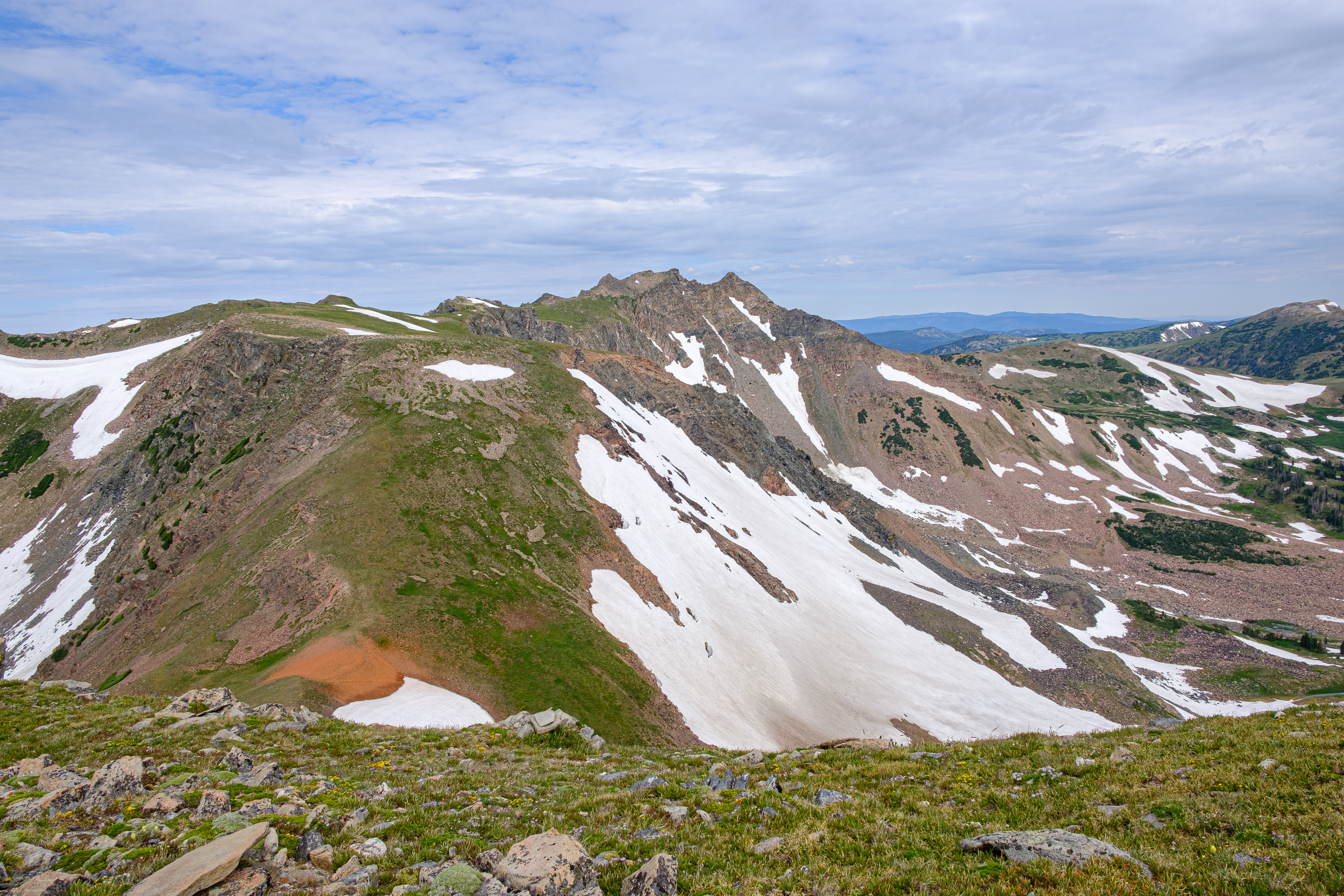 Red Dirt Pass and Mount Zirkel from Flattop Mountain
