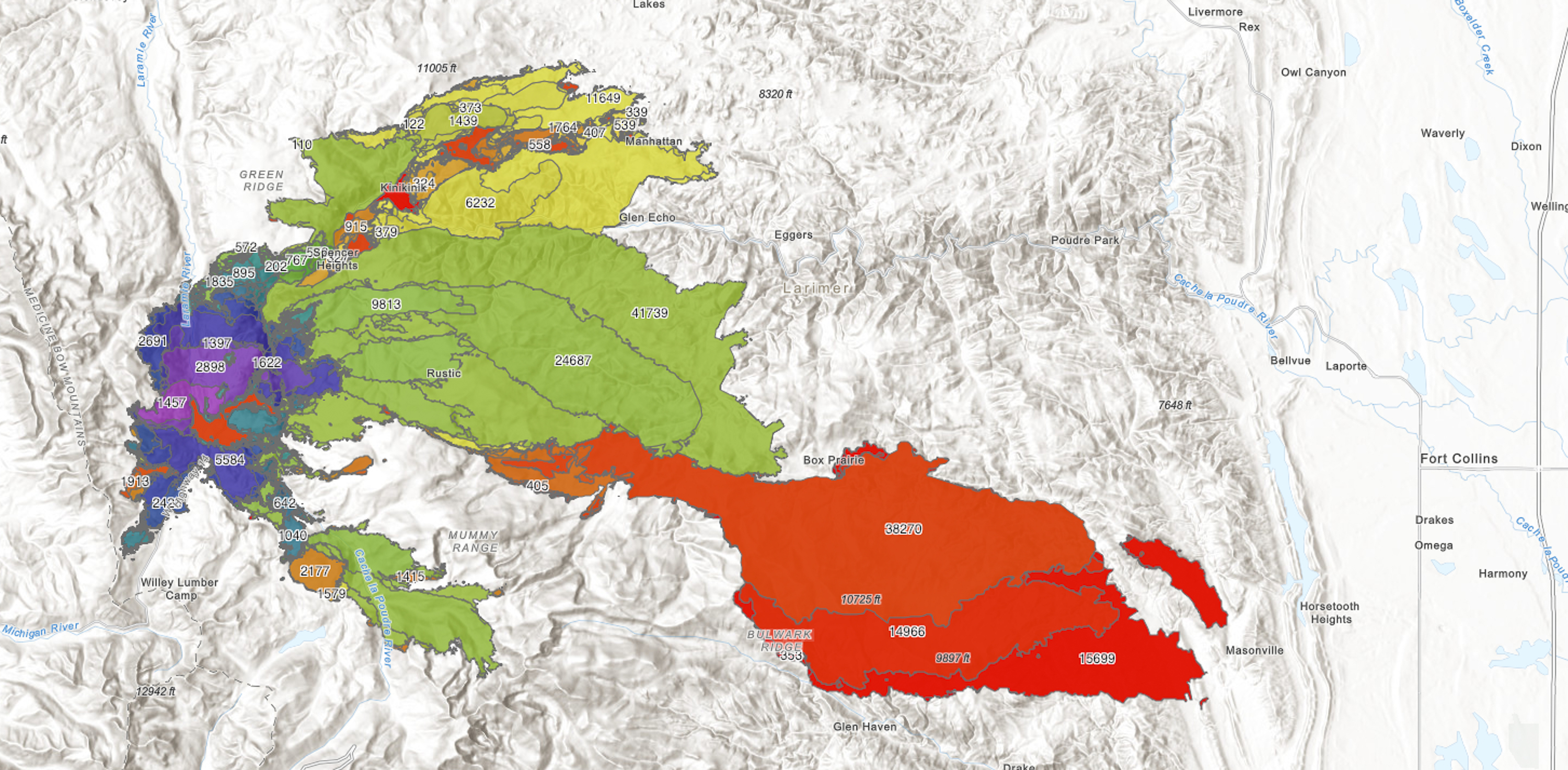 Fire growth; green section is Labor Day weekend; red is October 15-18